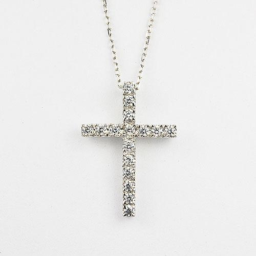 Sterling silver cross pendant with CZ
