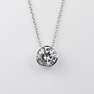 Sterling silver bezel set with a 8 mm round CZ