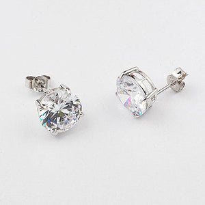 Sterling silver 10 mm stud CZ earrings
