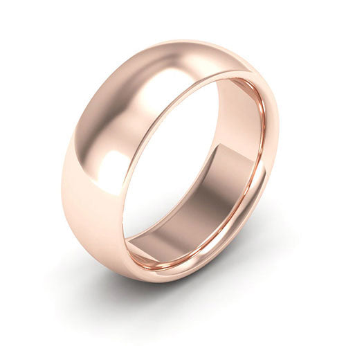 14K Rose Gold 7mm heavy weight half round comfort fit wedding bands