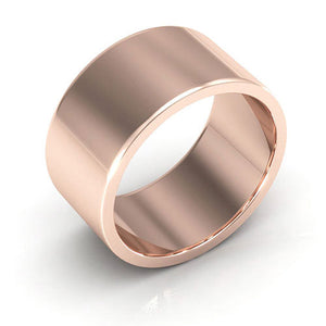 14K Rose Gold 10mm heavy weight flat  wedding bands