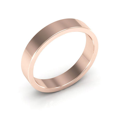 14K Rose Gold 4mm heavy weight flat  wedding bands