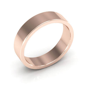 14K Rose Gold 5mm heavy weight flat  wedding bands