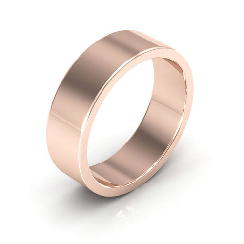 14K Rose Gold 6mm heavy weight flat  wedding bands