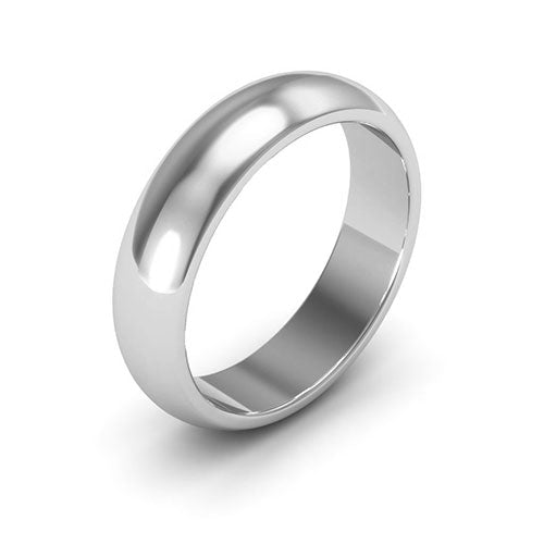 10K White Gold 5mm heavy weight half round  wedding bands