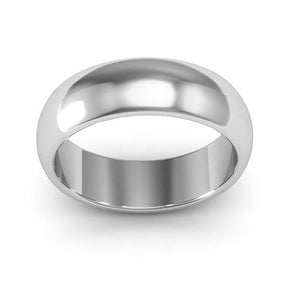 14K White Gold 6mm heavy weight half round  wedding bands