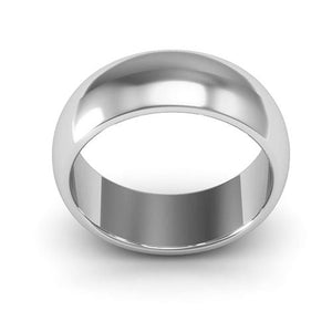 10K White Gold 7mm heavy weight half round  wedding bands