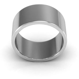 10K White Gold 10mm heavy weight flat  wedding bands