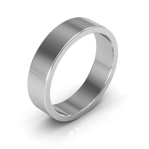 18K White Gold 5mm heavy weight flat  wedding bands
