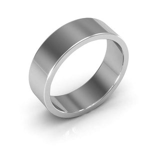 14K White Gold 6mm heavy weight flat  wedding bands