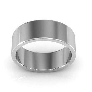 14K White Gold 7mm heavy weight flat  wedding bands