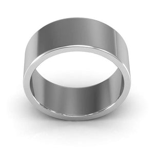 14K White Gold 8mm heavy weight flat  wedding bands