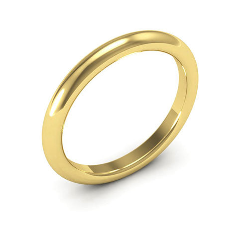 14K Yellow Gold 2.5mm heavy weight half round comfort fit wedding bands