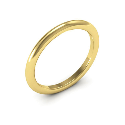 14K Yellow Gold 2mm heavy weight half round comfort fit wedding bands