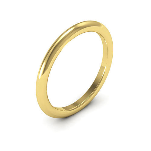 18K Yellow Gold 2mm heavy weight half round comfort fit wedding bands
