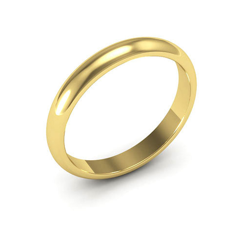 18K Yellow Gold 3mm heavy weight half round  wedding bands