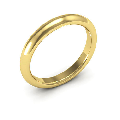14K Yellow Gold 3mm heavy weight half round comfort fit wedding bands