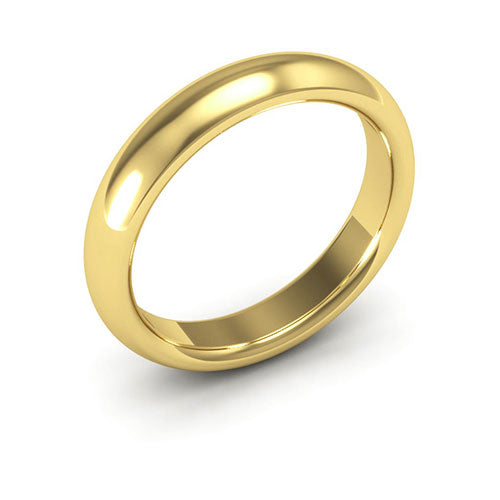 14K Yellow Gold 4mm heavy weight half round comfort fit wedding bands