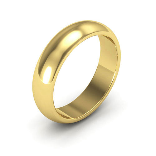14K Yellow Gold 5mm heavy weight half round  wedding bands