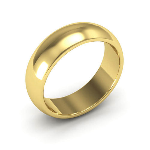 14K Yellow Gold 6mm heavy weight half round  wedding bands