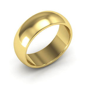 14K Yellow Gold 7mm heavy weight half round  wedding bands