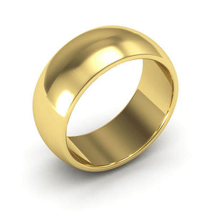 10K Yellow Gold 8mm heavy weight half round  wedding bands