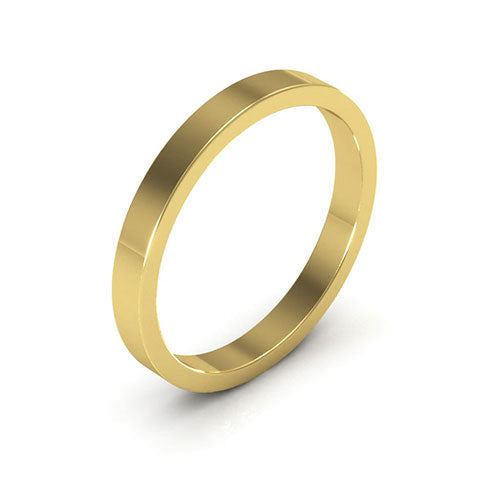 14K Yellow Gold 2.5mm heavy weight flat  wedding bands