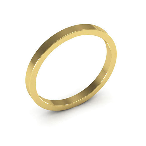 14K Yellow Gold 2mm heavy weight flat  wedding bands