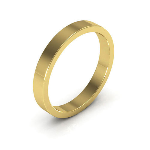 14K Yellow Gold 3mm heavy weight flat  wedding bands