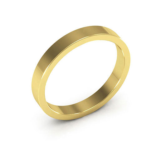 18K Yellow Gold 3mm heavy weight flat  wedding bands