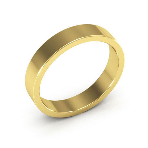 18K Yellow Gold 4mm heavy weight flat  wedding bands