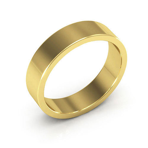 18K Yellow Gold 5mm heavy weight flat  wedding bands