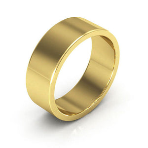 14K Yellow Gold 7mm heavy weight flat  wedding bands