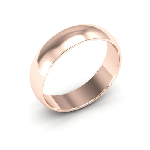 14K Rose Gold 5mm half round  wedding bands