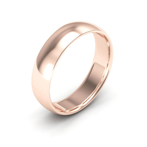 14K Rose Gold 5mm half round comfort fit wedding bands