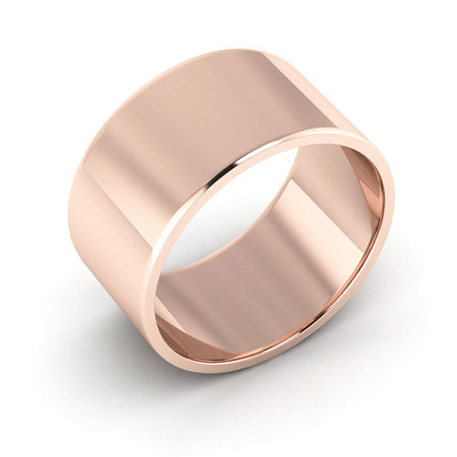 14K Rose Gold 10mm flat  wedding bands