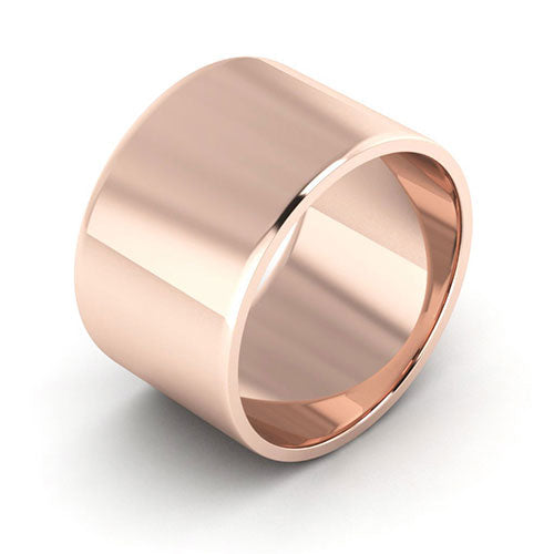 14K Rose Gold 12mm flat  wedding bands