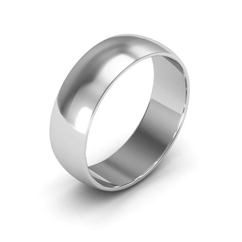 14K White Gold 6mm half round  wedding bands