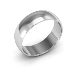 10K White Gold 6mm half round  wedding bands