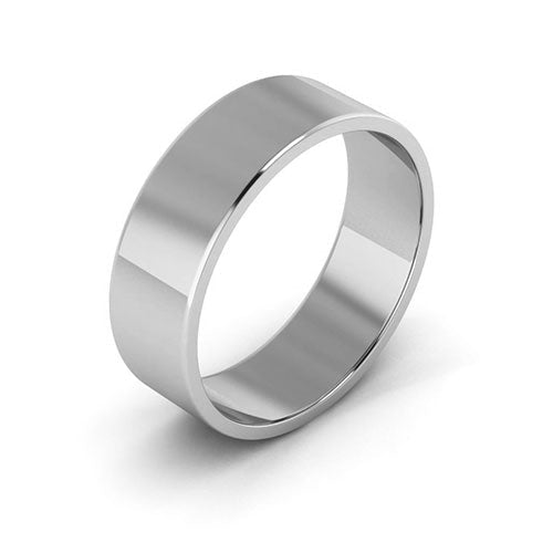 14K White Gold 6mm flat  wedding bands