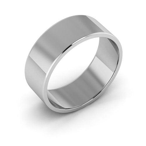 14K White Gold 7mm flat  wedding bands