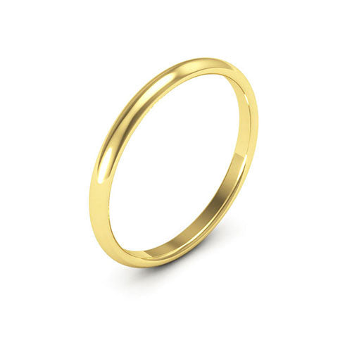 14K Yellow Gold 2mm half round comfort fit wedding bands