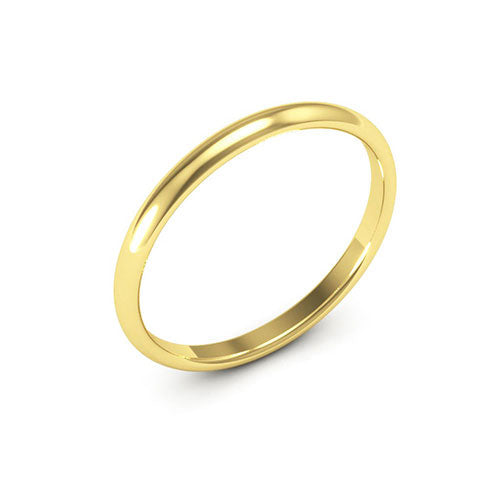 18K Yellow Gold 2mm half round comfort fit wedding bands