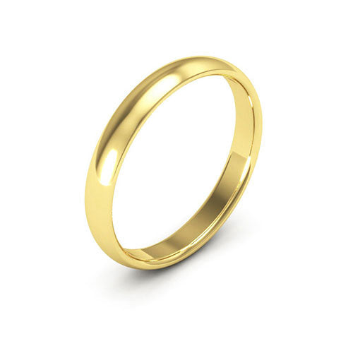 14K Yellow Gold 3mm half round comfort fit wedding bands