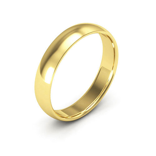 10K Yellow Gold 4mm half round comfort fit wedding bands