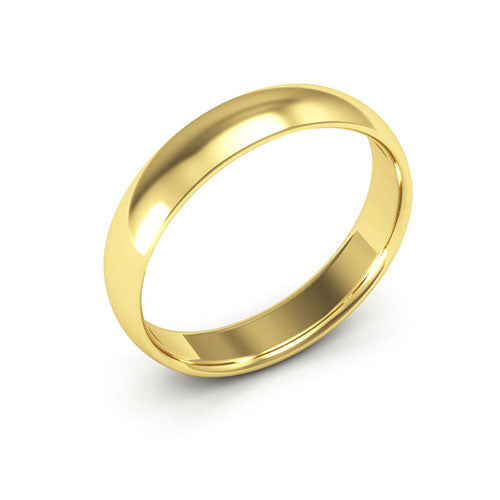 18K Yellow Gold 4mm half round comfort fit wedding bands