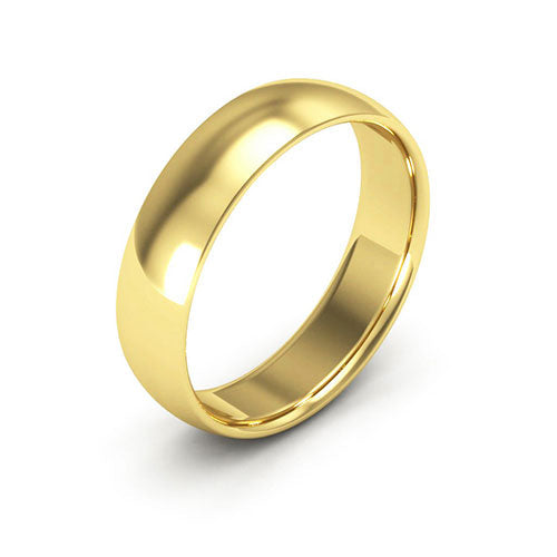 14K Yellow Gold 5mm half round comfort fit wedding bands