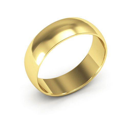 18K Yellow Gold 6mm half round  wedding bands