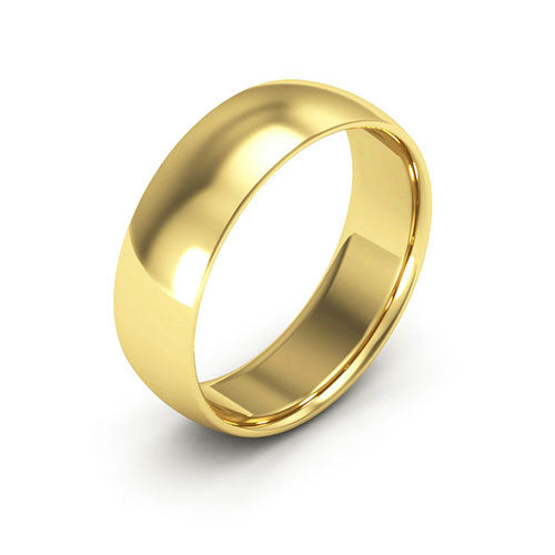 10K Yellow Gold 6mm half round comfort fit wedding bands