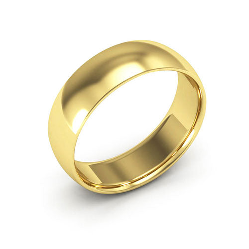 14K Yellow Gold 6mm half round comfort fit wedding bands